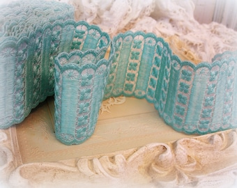 """6.6 yards vintage embroidered trim 3"""" WIDE heavily embroidered on sheer scrumptious aqua flowers and scallops"""