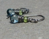 London Blue Topaz Earrings Peridot December, August Birthstone Oxidized Sterling Silver Earrings Gift for Her