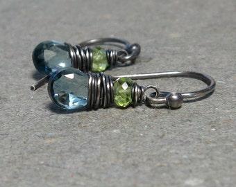 London Blue Topaz Earrings Peridot Earrings December, August Birthstone Oxidized Sterling Silver Earrings Gift for Her