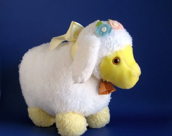 Vintage Lamb Stuffed Animal Easter Toy Eden Toys White Sheep Kids Toy 1980s Toy Farm Animal Bell Yellow Face Felt Flowers
