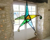 Bohemian Star. Stained Glass Star. Star Suncatcher. Coloured Glass Star. Blue and Green Suncatcher. Unique Star.
