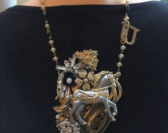 Vintage assemblage necklace statement recycled Unicorn