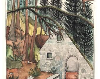 Art - Art Print - Oregon Art Print - Forest Park Art Print - Forest Art - Witch House - Print of Painting - Forest Park Witch House