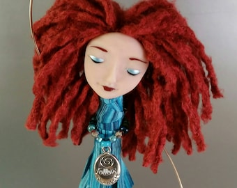 Chime Doll - Follow your Heart - Charm - Blue - brass bells - bamboo yarn - glass beads - art doll - polymer clay - silver - ooak - Rust