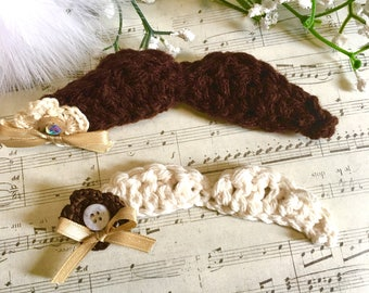 2 Crochet Mustaches, Cotton, Amigurumi, Fathers Day, Plush Toy, Party Favors, Photo Prop, accessory, Party Supplies, Pinback, Stick,