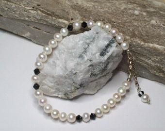 White Swarovski Pearl & Swarovski Jet Black Crystal Tennis Bracelet, Sterling silver White Swarovski Pearl and Jet Black Crystals Bracelet
