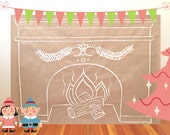 Paper Fireplace Wall Art Decor - SIMPLE