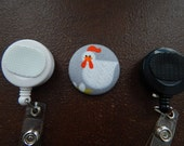 Fabric Covered Button for Clip on Retractable Badge Reel - Chicken