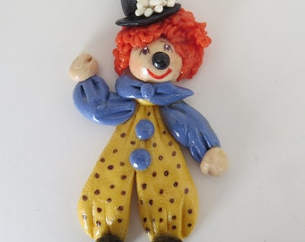 Happy Clown Ornament, Decoration,Gift,Collector,Handmade,Cold Porcelain