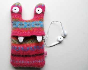 Pink Fair Isle Monster iPod or iPhone Cozy