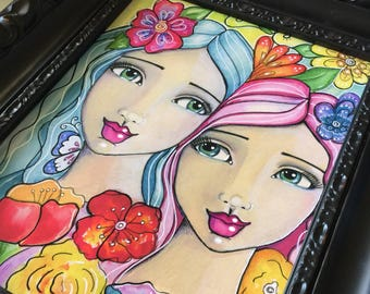 The Earth Laughs in Flowers / Mixed Media / Print / Art for a Girl's Room / Sisters / Best Friends / Portrait