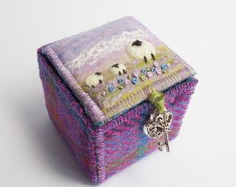Harris Tweed and Felt Trinket Box with Sheep and Lambs