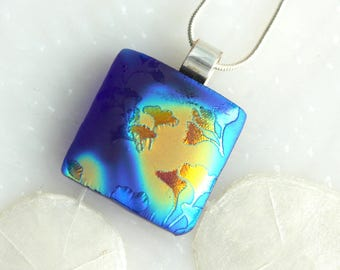 Ginkgo Leaves Satin Dichroic Glow Fused Glass Pendant 01257