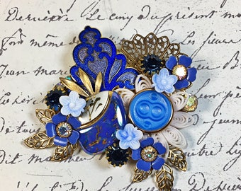 Paula periwinkle blue vintage collage brooch  enamel ceramic button upcycled pin