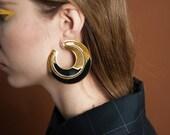 art deco ornate hoop earrings / oversized earrings / unique statement earrings / 1349a
