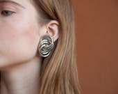 sculptural round earrings / oversized earrings / circle earrings / 1396a