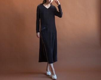 EILEEN FISHER velvet maxi dress / 90s velvet dress / eggplant minimalist dress / s / 978d /