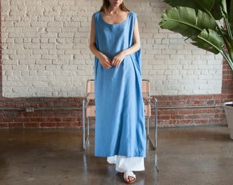 perwinkle blue linen market dress / oversized summer maxi dress / natural woven dress / s / m / l / xl / 2199d