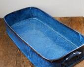 Large Cobalt Blue Lasagna Casserole Stoneware Pottery