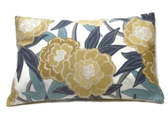 Decorative Lumbar Pillow Cover Bold Modern Floral Teal Navy Blue Gold Yellow Gray White Same Fabric Front/Back Throw Accent 12x18 inch x