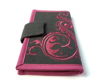 MADE TO ORDER | Women's wallet | Embroidered Bifold Wallet | Pink Flourish on Gray | Handmade wallet