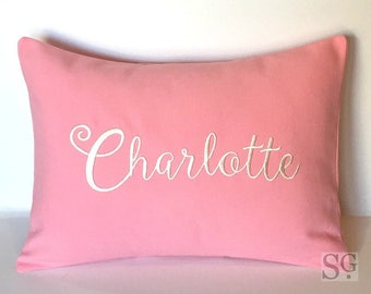 MONOGRAM NAME or Word Pillow Cover. 12 x 16 Decorative Throw Pillow. Carried Away Calligraphy font. Housewarming Hostess Gift. SewGracious
