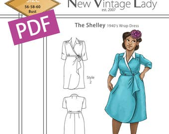 The Shelley 1940s wrap dress in PDF size 56-58-60 bust NVL plus size multi size repro vintage sewing patterns