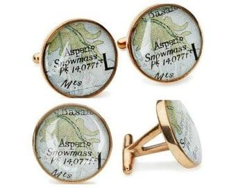 Aspen Atlas Cufflinks Vacation Vintage Maps Golden Bronze Colorado Maps
