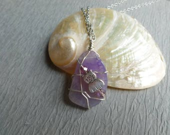 Handmade purple glass pendant with cat wire wrapped stainless chain