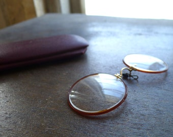 Round Celluloid Frame Pince Nez Eye Glasses
