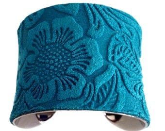 Bright Turquoise Embossed Floral Suede Cuff Bracelet - by UNEARTHED
