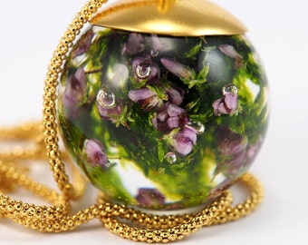 Small 24K Gold Plated Silver and Moss Pendant, Sterling Silver Necklace, Round pendant with Chain