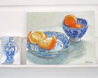 Clementine Monday original mixed media still life painting by Polly Jones