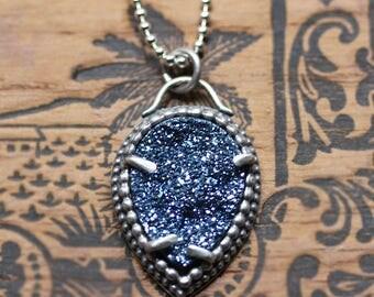 Blue druzy necklace, titanium druzy necklace, drusy necklace, druzy pendant, druzy quartz necklace, boho necklace, boho jewelry