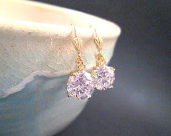 Cubic Zirconia Earrings, White and Gold Dangle Earrings, FREE Shipping U.S.