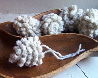Crochet pinecone, wool yarn handmade pinecone ornament with hanging loop - Frost
