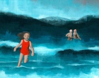 Print of an acrylic painting, giclee digital art print reproduction decor art for girl woman seascape ocean beach swimsuit 'Waves'