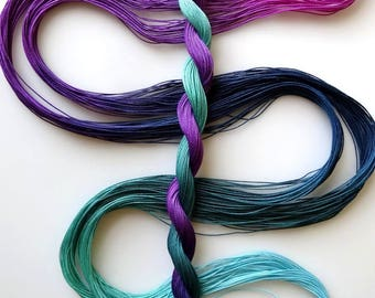 "Size 40 ""Stardate"" hand dyed thread 6 cord cordonnet tatting crochet cotton"