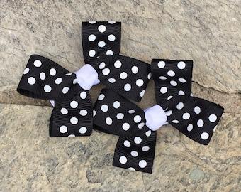 Black and White Polka Dot Hair Bows,Pigtail Hair Bows,Toddler Hair Bows,Non Slip Hair Bows,3 Inch Hair Bows