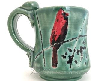 Ceramic Mug Cardinal Bird Handmade Handpainted On Dark Green 11 Ounces MG0065 Ready to Ship