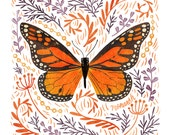 Monarch Butterfly Art Print - square digital illustration by Stephanie Fizer Coleman