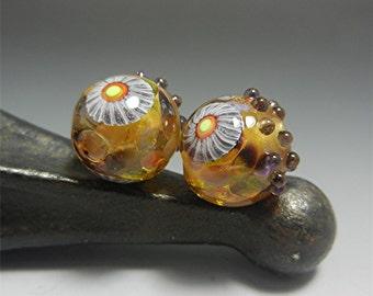 SRA HANDMADE LAMPWORK earring pair beads Donna Millard boho gypsy hip hippie earrings gold topaz violet