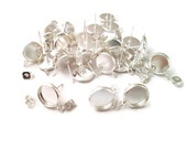 10mm bezel stud earring with loop, silver plated, pick your amount