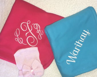 Personalized Baby Blanket, Monogrammed swaddle blanket, Personalized Knit Blanket, Embroidered pink knit blanket, Several Colors Available