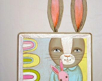 Little Bunny Rabbit Painting with Ears One of a Kind Original Contemporary Folk Art OOAK Ready to Hang