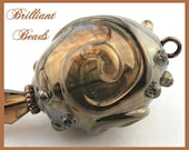 Reserved for Judy, 3 pairs of 16 x 9mm chocolate bronze lampwork bead spacers, Custom Order