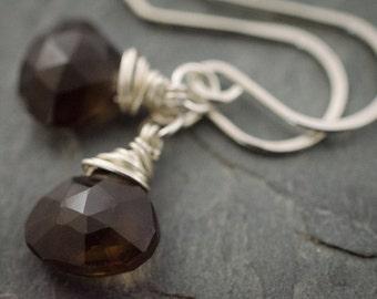 Smoky Quartz Earrings. Faceted Heart Briolette. Sterling Silver Earrings. Smoky Quartz Jewelry. Faceted Gemstone Earrings