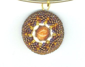 Beaded Eye Pendant . Goldstone &Pearls . STERLING Silver Setting . Sterling Omega Chain- Keep an Eye on Her Series by enchantedbeads on Ets