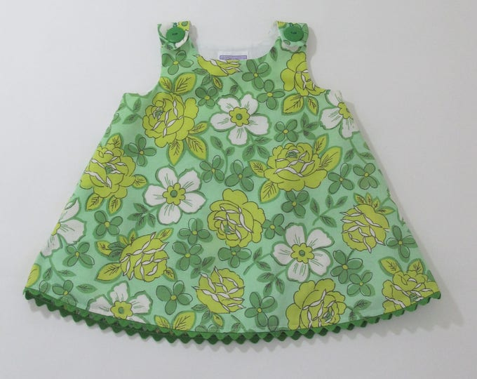 Girls Dress, Toddler Dress in Green Vintage Rose Floral, Girls Dresses, Sundress, Girls Pinafore, Baby Dress,  Size 12 - 18 Months