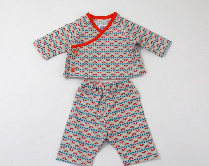 Newborn Flannel Kimono Top & Pant Set, Newborn Girl Coming Home Outfit, Newborn Boy Coming Home Outfit, Light Blue and Orange Leaf Print